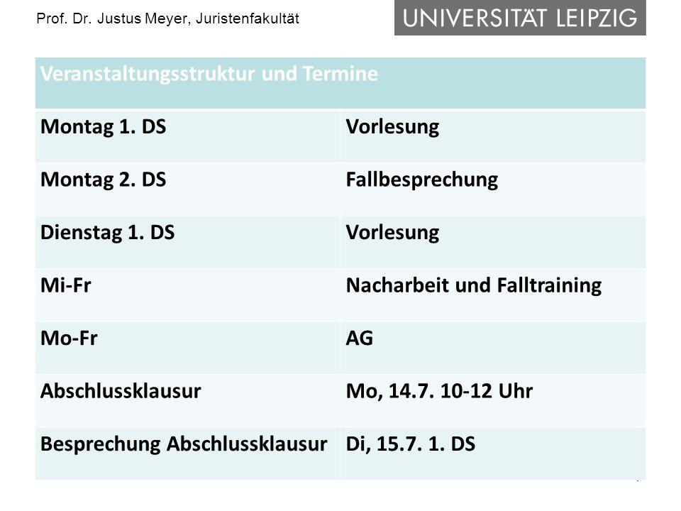 4 Prof.Dr. Justus Meyer, Juristenfakultät Veranstaltungsstruktur und Termine Montag 1.