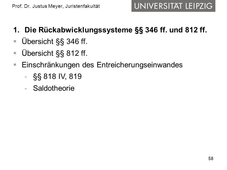 58 Prof.Dr. Justus Meyer, Juristenfakultät 1.Die Rückabwicklungssysteme §§ 346 ff.
