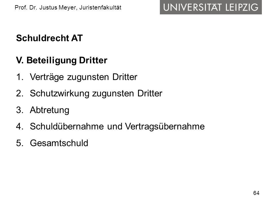64 Prof.Dr. Justus Meyer, Juristenfakultät Schuldrecht AT V.