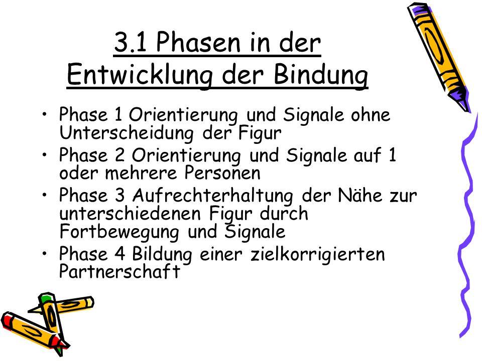 3.1 Phasen in der Entwicklung der Bindung Phase 1 Orientierung und Signale ohne Unterscheidung der Figur Phase 2 Orientierung und Signale auf 1 oder m