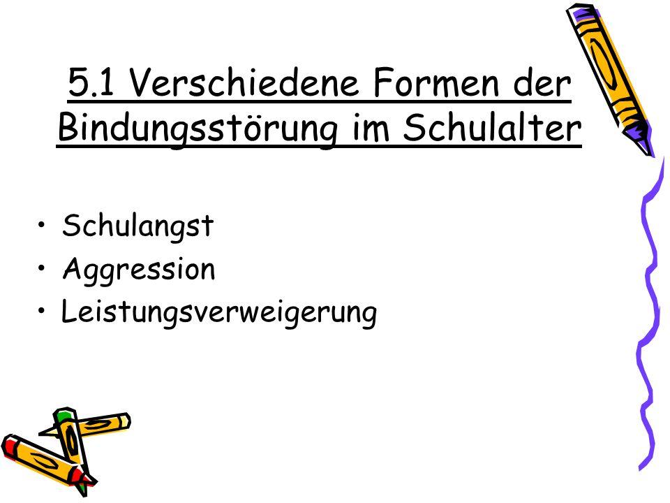 5.1 Verschiedene Formen der Bindungsstörung im Schulalter Schulangst Aggression Leistungsverweigerung