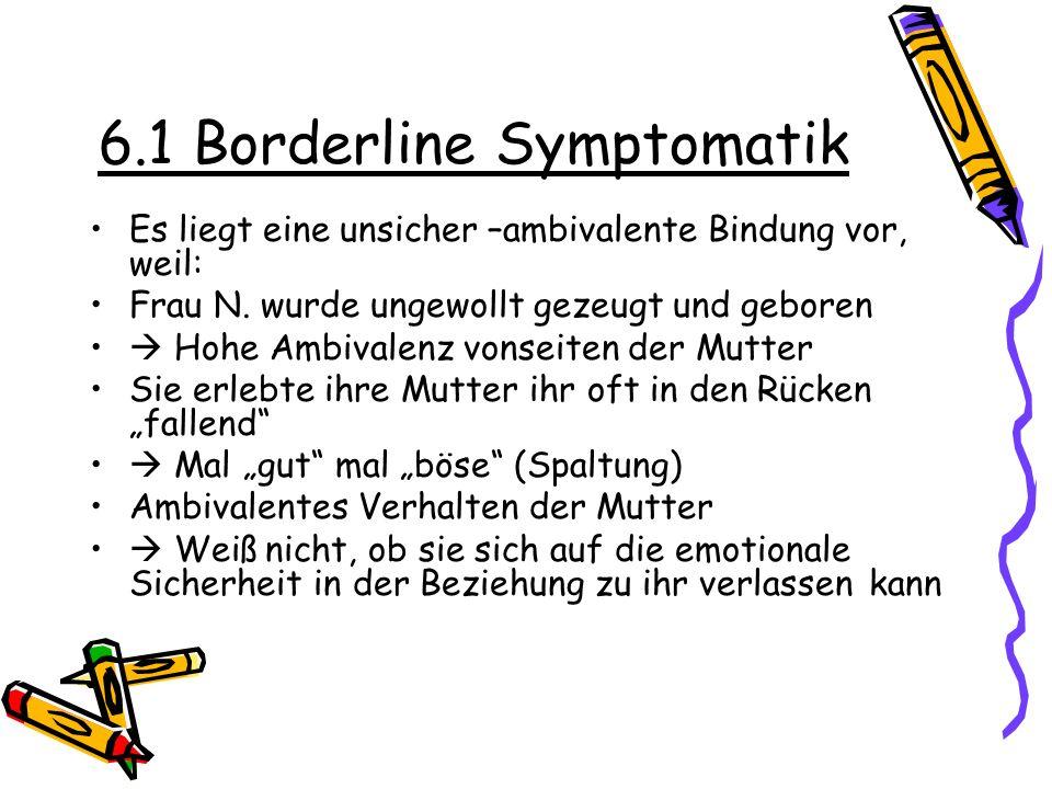 6.1 Borderline Symptomatik Es liegt eine unsicher –ambivalente Bindung vor, weil: Frau N. wurde ungewollt gezeugt und geboren Hohe Ambivalenz vonseite