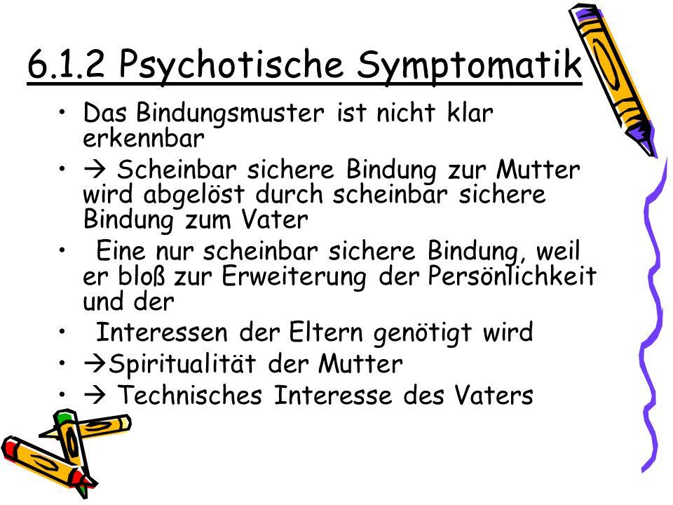 6.1.2 Psychotische Symptomatik Das Bindungsmuster ist nicht klar erkennbar Scheinbar sichere Bindung zur Mutter wird abgelöst durch scheinbar sichere