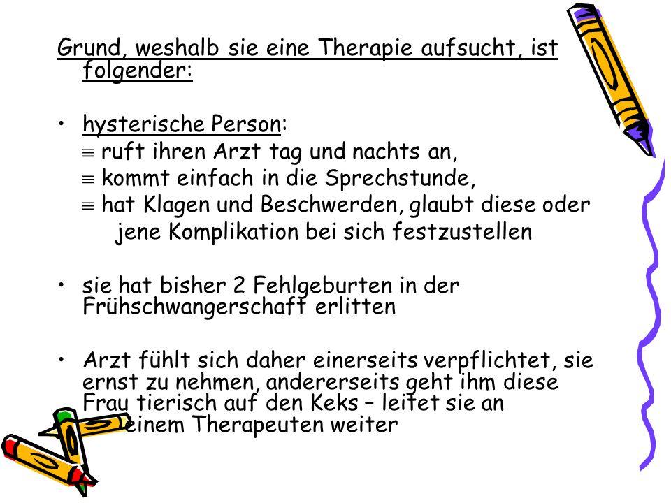 Therapieverlauf Vorstellung/Symptomatik Beruhigungen bzgl.