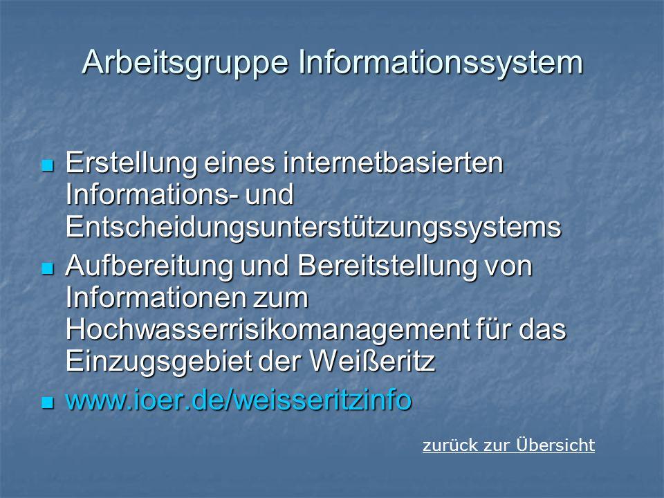 Arbeitsgruppe Informationssystem Erstellung eines internetbasierten Informations- und Entscheidungsunterstützungssystems Erstellung eines internetbasi