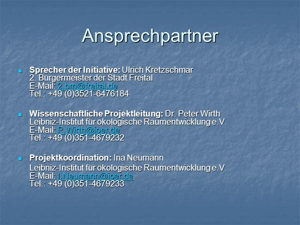 Ansprechpartner Sprecher der Initiative: Ulrich Kretzschmar 2. Bürgermeister der Stadt Freital E-Mail: 2.bm@freital.de Tel.: +49 (0)3521-6476184 Sprec