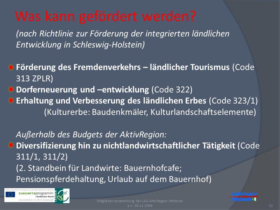 Was kann gefördert werden? 12 Mitgliederversammlung der LAG AktivRegion Uthlande e.V. 26.11.2009 (nach Richtlinie zur Förderung der integrierten ländl