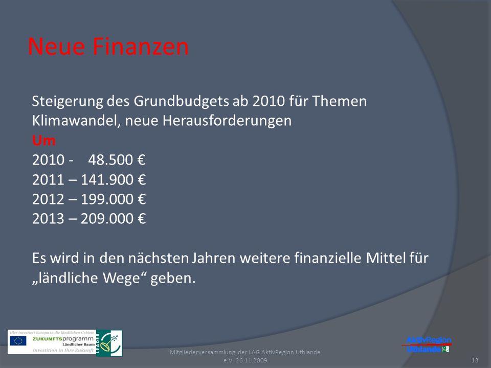 Neue Finanzen 13 Mitgliederversammlung der LAG AktivRegion Uthlande e.V. 26.11.2009 Steigerung des Grundbudgets ab 2010 für Themen Klimawandel, neue H