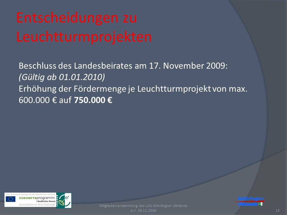 Entscheidungen zu Leuchtturmprojekten 15 Mitgliederversammlung der LAG AktivRegion Uthlande e.V. 26.11.2009 Beschluss des Landesbeirates am 17. Novemb