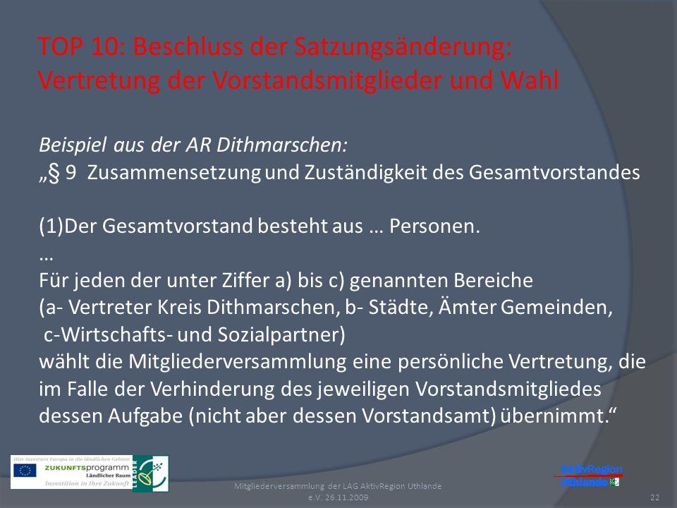 TOP 10: Beschluss der Satzungsänderung: Vertretung der Vorstandsmitglieder und Wahl 22 Mitgliederversammlung der LAG AktivRegion Uthlande e.V. 26.11.2