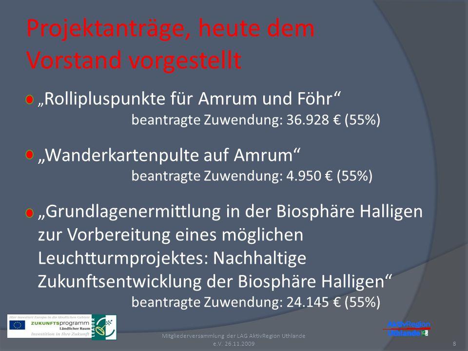 Projektanträge, heute dem Vorstand vorgestellt 8 Mitgliederversammlung der LAG AktivRegion Uthlande e.V. 26.11.2009 Rollipluspunkte für Amrum und Föhr