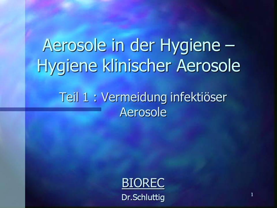1 Aerosole in der Hygiene – Hygiene klinischer Aerosole Teil 1 : Vermeidung infektiöser Aerosole BIORECDr.Schluttig
