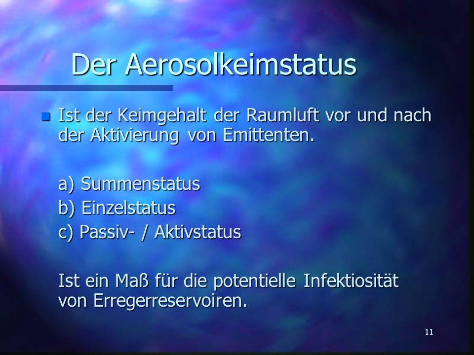11 Der Aerosolkeimstatus n Ist der Keimgehalt der Raumluft vor und nach der Aktivierung von Emittenten. a) Summenstatus b) Einzelstatus c) Passiv- / A