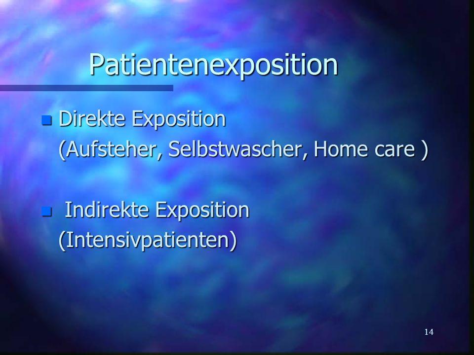 14 Patientenexposition n Direkte Exposition (Aufsteher, Selbstwascher, Home care ) n Indirekte Exposition (Intensivpatienten)