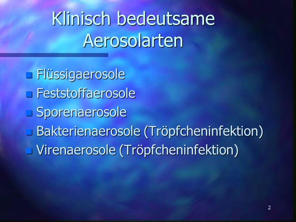 2 Klinisch bedeutsame Aerosolarten n Flüssigaerosole n Feststoffaerosole n Sporenaerosole n Bakterienaerosole (Tröpfcheninfektion) n Virenaerosole (Tr