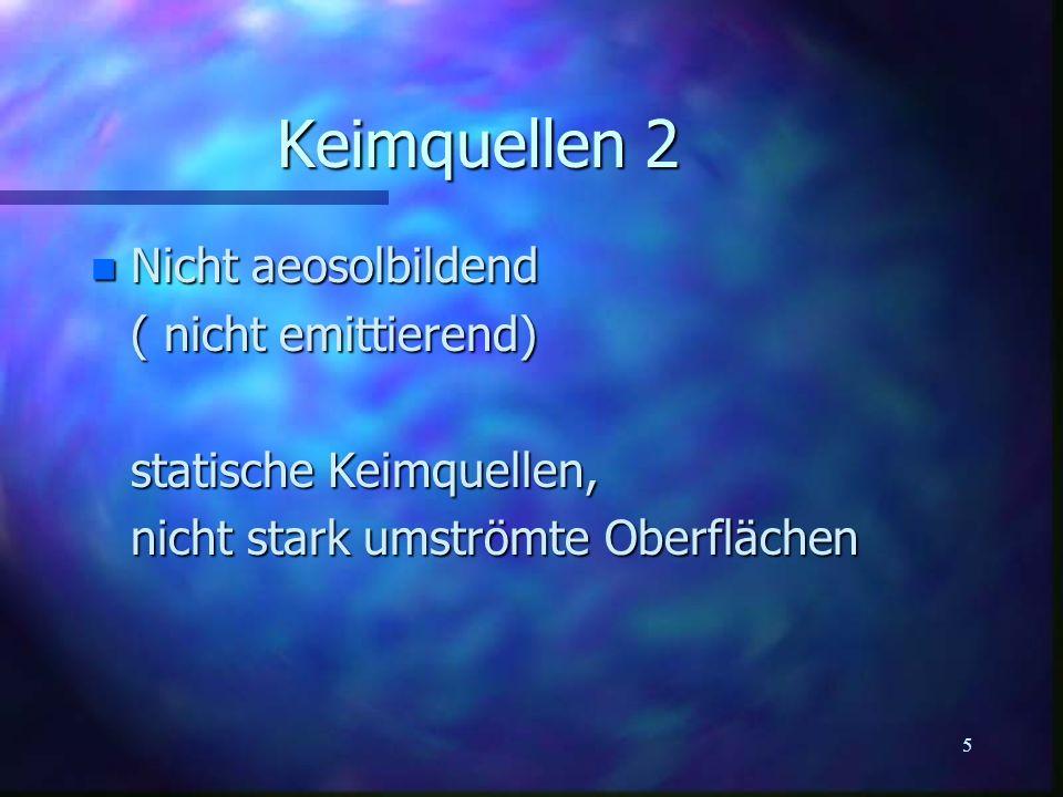 5 Keimquellen 2 n Nicht aeosolbildend ( nicht emittierend) statische Keimquellen, nicht stark umströmte Oberflächen
