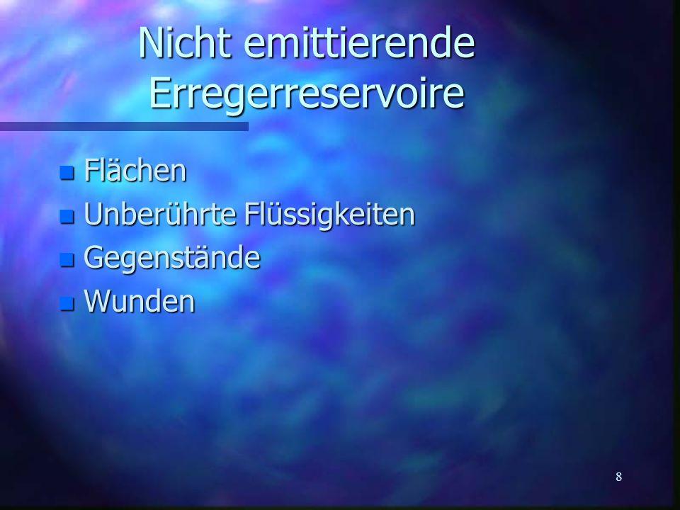 8 Nicht emittierende Erregerreservoire n Flächen n Unberührte Flüssigkeiten n Gegenstände n Wunden