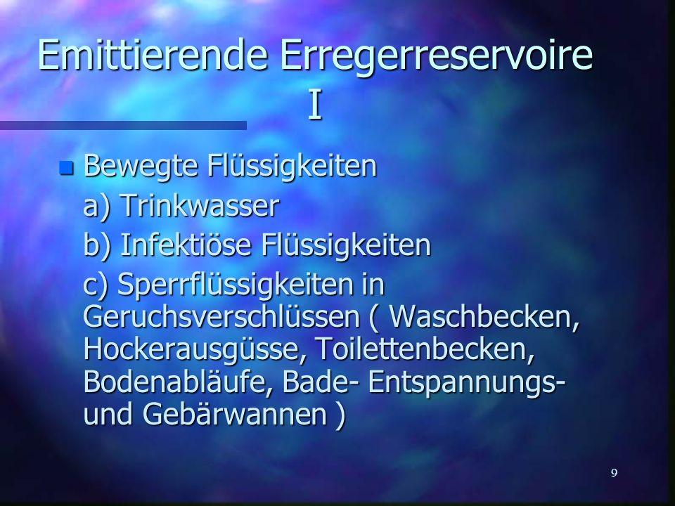9 Emittierende Erregerreservoire I n Bewegte Flüssigkeiten a) Trinkwasser b) Infektiöse Flüssigkeiten c) Sperrflüssigkeiten in Geruchsverschlüssen ( W