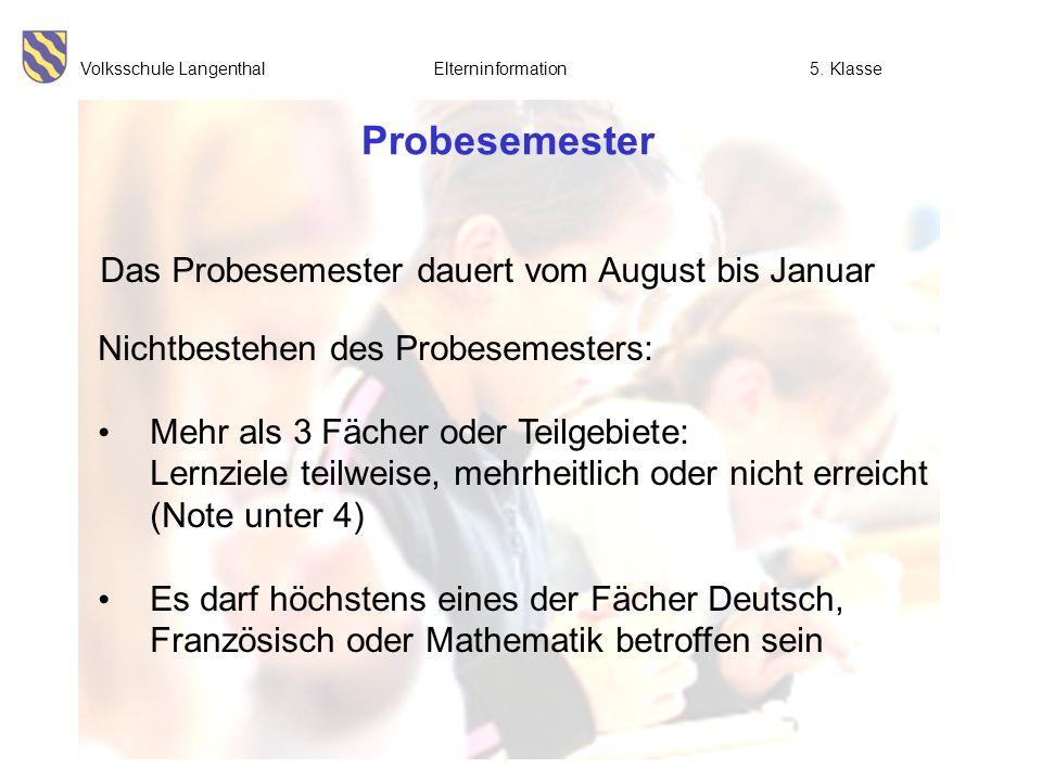 Volksschule Langenthal Elterninformation5. Klasse Probesemester Nichtbestehen des Probesemesters: Mehr als 3 Fächer oder Teilgebiete: Lernziele teilwe