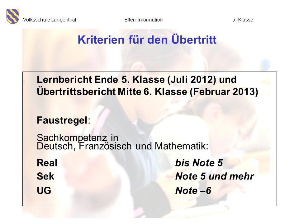 Volksschule Langenthal Elterninformation5. Klasse Kriterien für den Übertritt Lernbericht Ende 5. Klasse (Juli 2012) und Übertrittsbericht Mitte 6. Kl