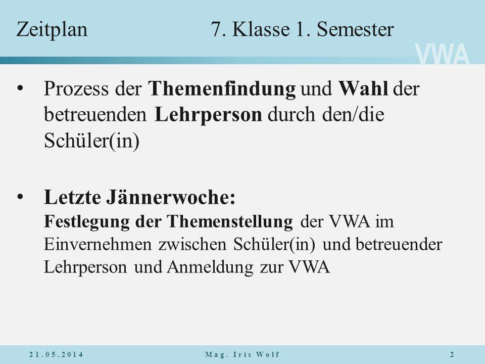 VWA Zeitplan7.Klasse 1. Semester 21.05.20142Mag.