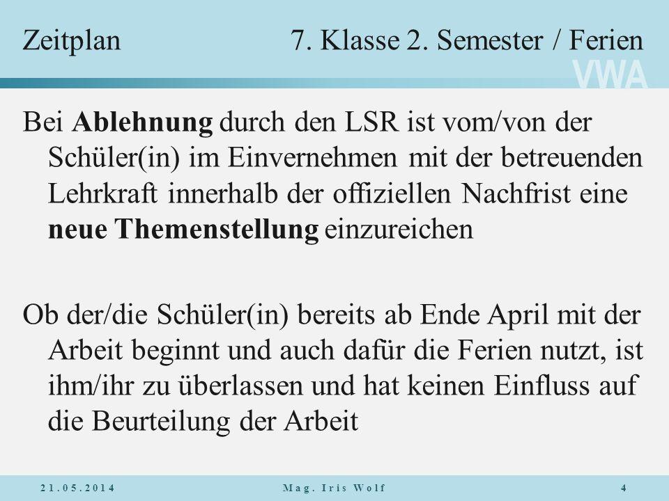VWA Zeitplan7.Klasse 2.