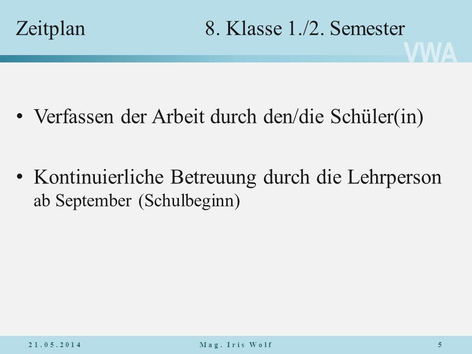 VWA Zeitplan8.Klasse 1./2.