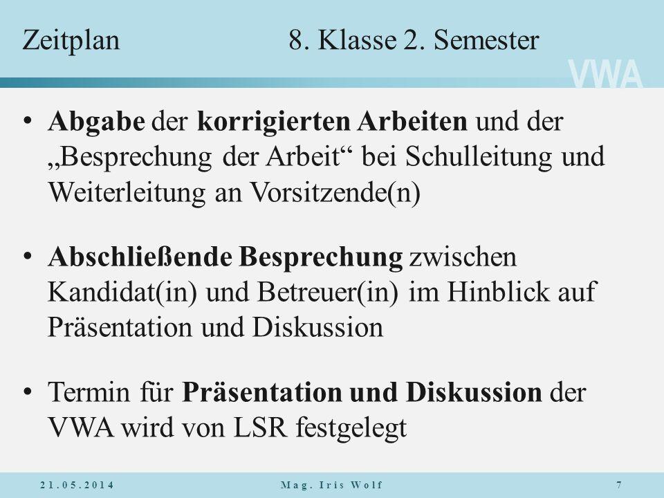 VWA Zeitplan8.Klasse 2.