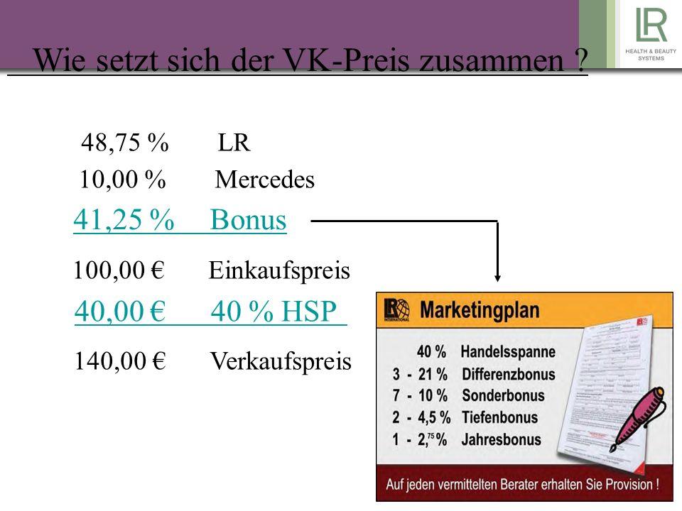 Bonusstaffel 250 PW = 3 % 500 PW = 6 % 1.000 PW = 9 % 2.000 PW = 11% 4.000 PW = 14% 8.000 PW = 16% 12.000 PW = 21% Was ist PW und GV Alle Produkte haben Puktwerte / 1 = 2 PW PW = bestimmen die Bonusstufe GV = EK netto (darauf wird der Bonus ausgezahlt) z.B.