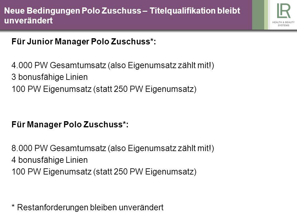 Junior Manager fahren LR! Sie 250 PW Junior Manager Partner 1.000 PW Partner 2.000 PW Partner 1.000 PW 55 EUR Autobonus zahlt LR!