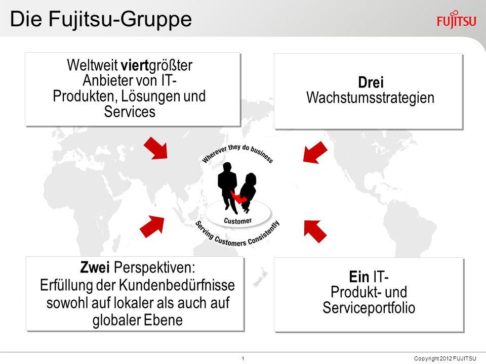 1 Die Fujitsu-Gruppe Zwei Perspektiven: Erfüllung der Kundenbedürfnisse sowohl auf lokaler als auch auf globaler Ebene 4 Ein IT- Produkt- und Serviceportfolio Weltweit viert größter Anbieter von IT- Produkten, Lösungen und Services Drei Wachstumsstrategien Copyright 2012 FUJITSU