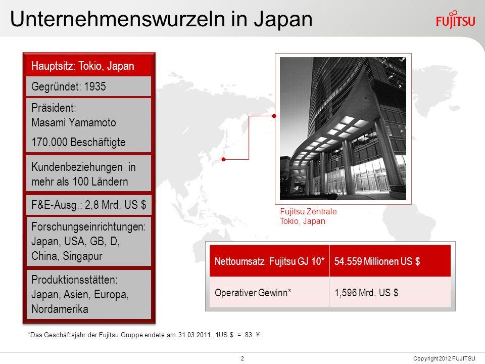 2 Unternehmenswurzeln in Japan Gegründet: 1935 Hauptsitz: Tokio, Japan F&E-Ausg.: 2,8 Mrd. US $ Nettoumsatz Fujitsu GJ 10*54.559 Millionen US $ Operat