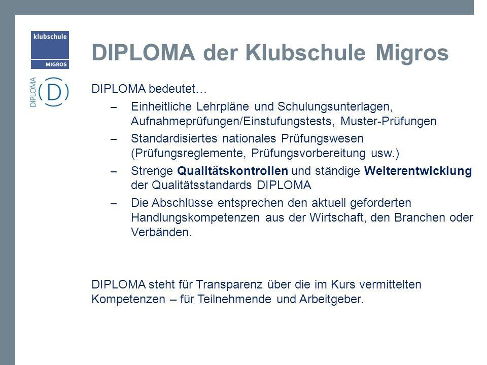 DIPLOMA bedeutet… – Einheitliche Lehrpläne und Schulungsunterlagen, Aufnahmeprüfungen/Einstufungstests, Muster-Prüfungen – Standardisiertes nationales