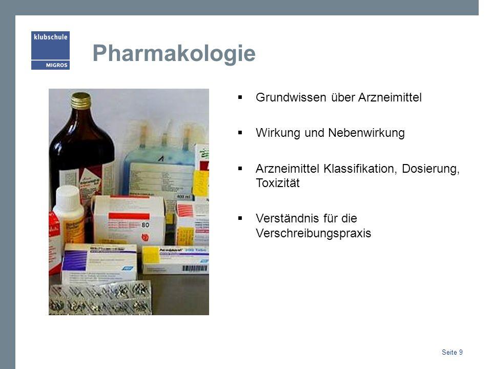 Pharmakologie Grundwissen über Arzneimittel Wirkung und Nebenwirkung Arzneimittel Klassifikation, Dosierung, Toxizität Verständnis für die Verschreibungspraxis Seite 9