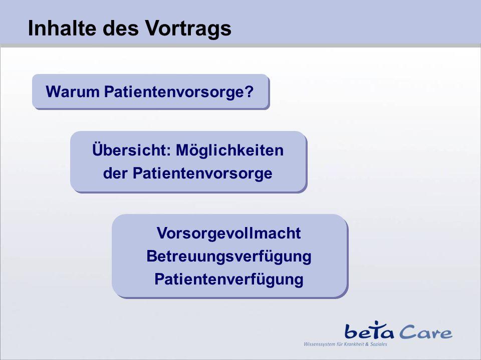 Inhalte des Vortrags Warum Patientenvorsorge? Übersicht: Möglichkeiten der Patientenvorsorge Übersicht: Möglichkeiten der Patientenvorsorge Vorsorgevo