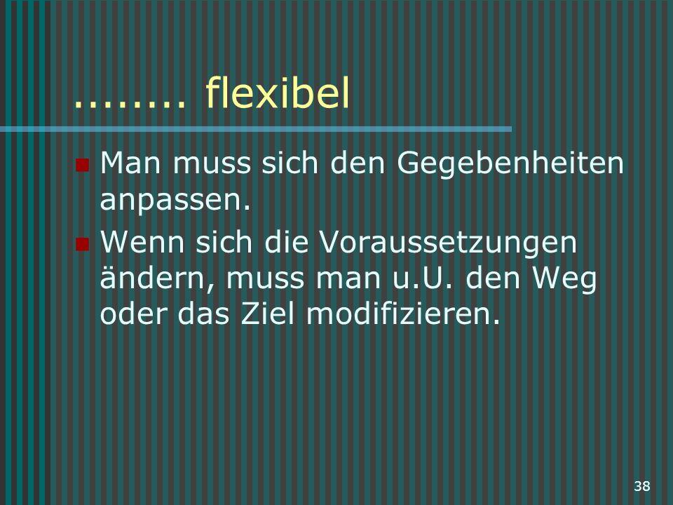 38........ flexibel Man muss sich den Gegebenheiten anpassen. Wenn sich die Voraussetzungen ändern, muss man u.U. den Weg oder das Ziel modifizieren.