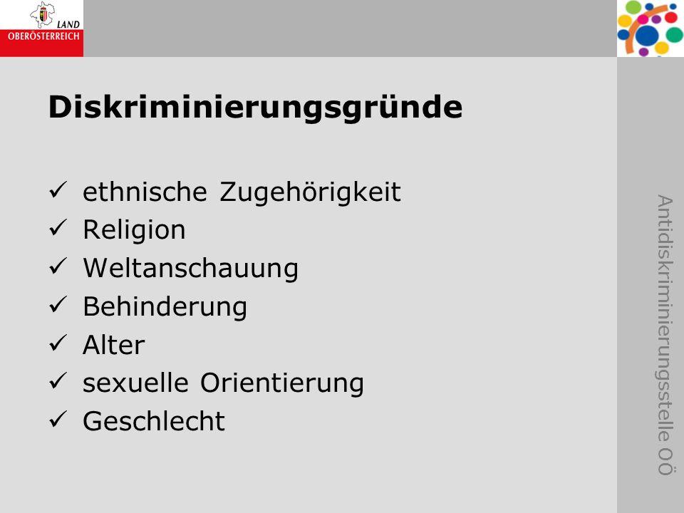 Antidiskriminierungsstelle OÖ Diskriminierungsgründe ethnische Zugehörigkeit Religion Weltanschauung Behinderung Alter sexuelle Orientierung Geschlech