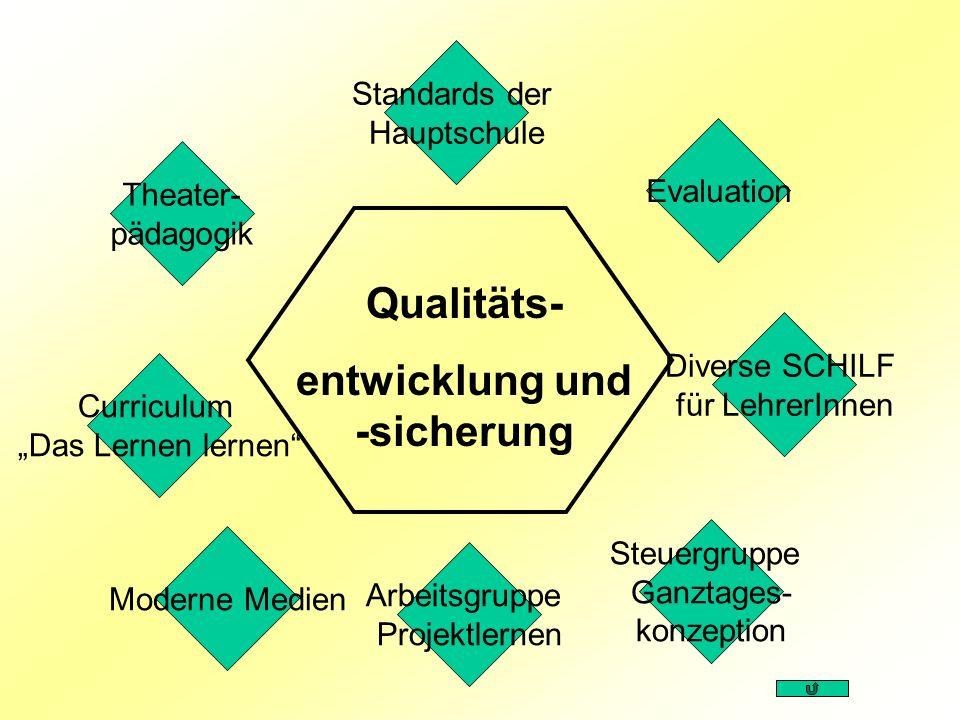 Evaluation Diverse SCHILF für LehrerInnen Curriculum Das Lernen lernen Steuergruppe Ganztages- konzeption Qualitäts- entwicklung und -sicherung Standa