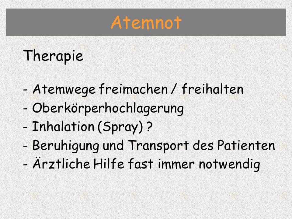 Therapie - Atemwege freimachen / freihalten - Oberkörperhochlagerung - Inhalation (Spray) .