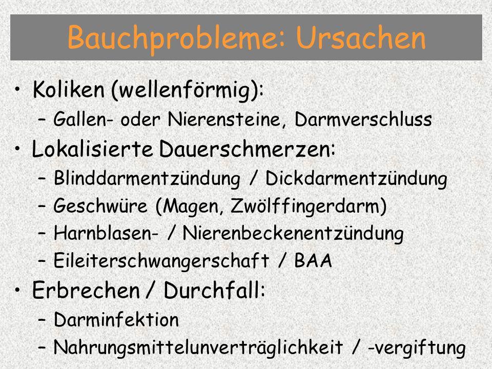 Koliken (wellenförmig): –Gallen- oder Nierensteine, Darmverschluss Lokalisierte Dauerschmerzen: –Blinddarmentzündung / Dickdarmentzündung –Geschwüre (Magen, Zwölffingerdarm) –Harnblasen- / Nierenbeckenentzündung –Eileiterschwangerschaft / BAA Erbrechen / Durchfall: –Darminfektion –Nahrungsmittelunverträglichkeit / -vergiftung Bauchprobleme: Ursachen