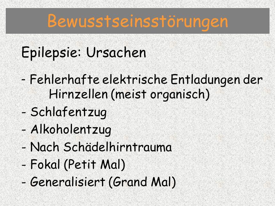 Epilepsie: Therapie - Atemwege freilegen / freihalten - Schutz des Patienten vor Verletzungen - Antikonvulsiva (Medikamente) Bewusstseinsstörungen