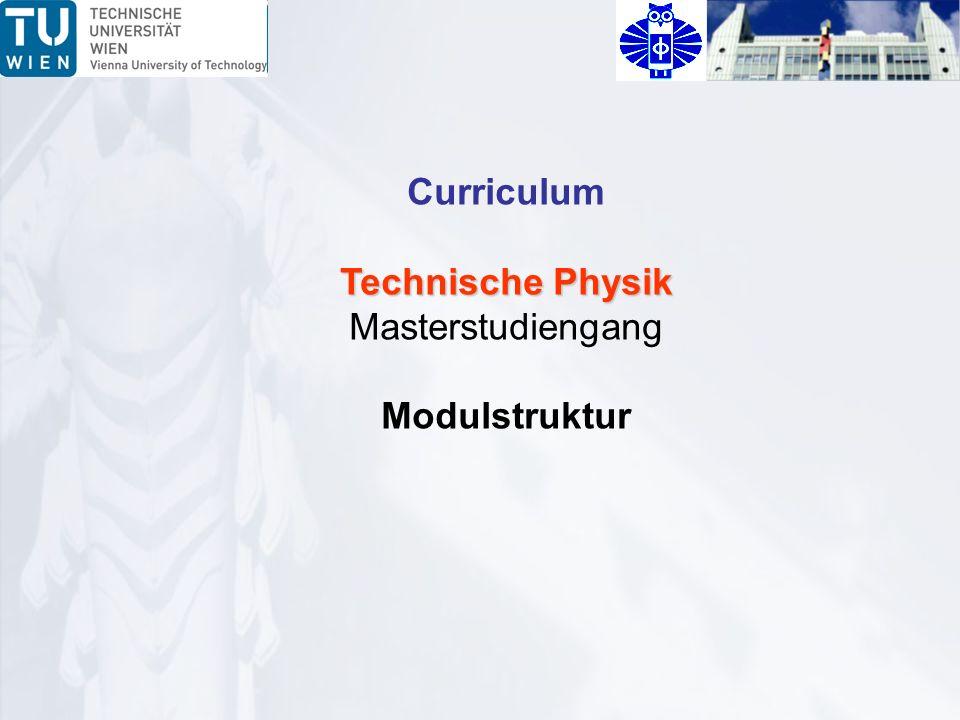 Curriculum Technische Physik Masterstudiengang Modulstruktur