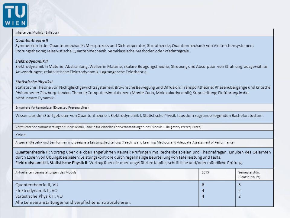 Inhalte des Moduls (Syllabus) Quantentheorie II Symmetrien in der Quantenmechanik; Messprozess und Dichteoperator; Streutheorie; Quantenmechanik von Vielteilchensystemen; Störungstheorie; relativistische Quantenmechanik.