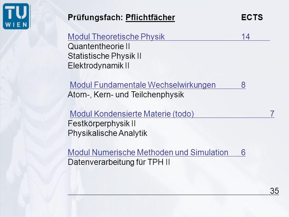 Prüfungsfach:PflichtfächerECTS Modul Theoretische Physik 14 Quantentheorie II Statistische Physik II Elektrodynamik II Modul Fundamentale Wechselwirkungen8 Atom-, Kern- und Teilchenphysik Modul Kondensierte Materie (todo)7 Festkörperphysik II Physikalische Analytik Modul Numerische Methoden und Simulation6 Datenverarbeitung für TPH II 35