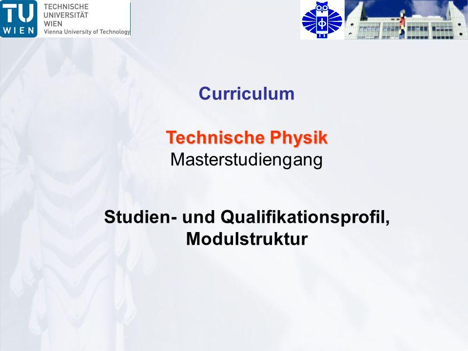 Curriculum Technische Physik Masterstudiengang Studien- und Qualifikationsprofil, Modulstruktur