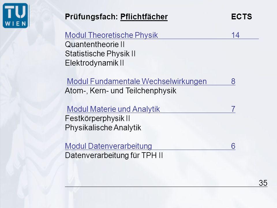 Prüfungsfach:PflichtfächerECTS Modul Theoretische Physik 14 Quantentheorie II Statistische Physik II Elektrodynamik II Modul Fundamentale Wechselwirkungen8 Atom-, Kern- und Teilchenphysik Modul Materie und Analytik7 Festkörperphysik II Physikalische Analytik Modul Datenverarbeitung6 Datenverarbeitung für TPH II 35