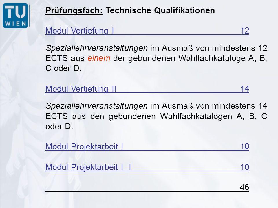 Prüfungsfach: Technische Qualifikationen Modul Vertiefung I12 Speziallehrveranstaltungen im Ausmaß von mindestens 12 ECTS aus einem der gebundenen Wahlfachkataloge A, B, C oder D.