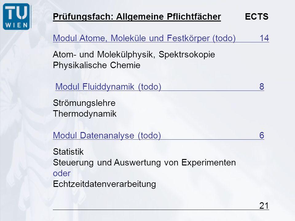 Prüfungsfach: Allgemeine Pflichtfächer ECTS Modul Atome, Moleküle und Festkörper (todo)14 Atom- und Molekülphysik, Spektrsokopie Physikalische Chemie Modul Fluiddynamik (todo) 8 Strömungslehre Thermodynamik Modul Datenanalyse (todo)6 Statistik Steuerung und Auswertung von Experimenten oder Echtzeitdatenverarbeitung 21