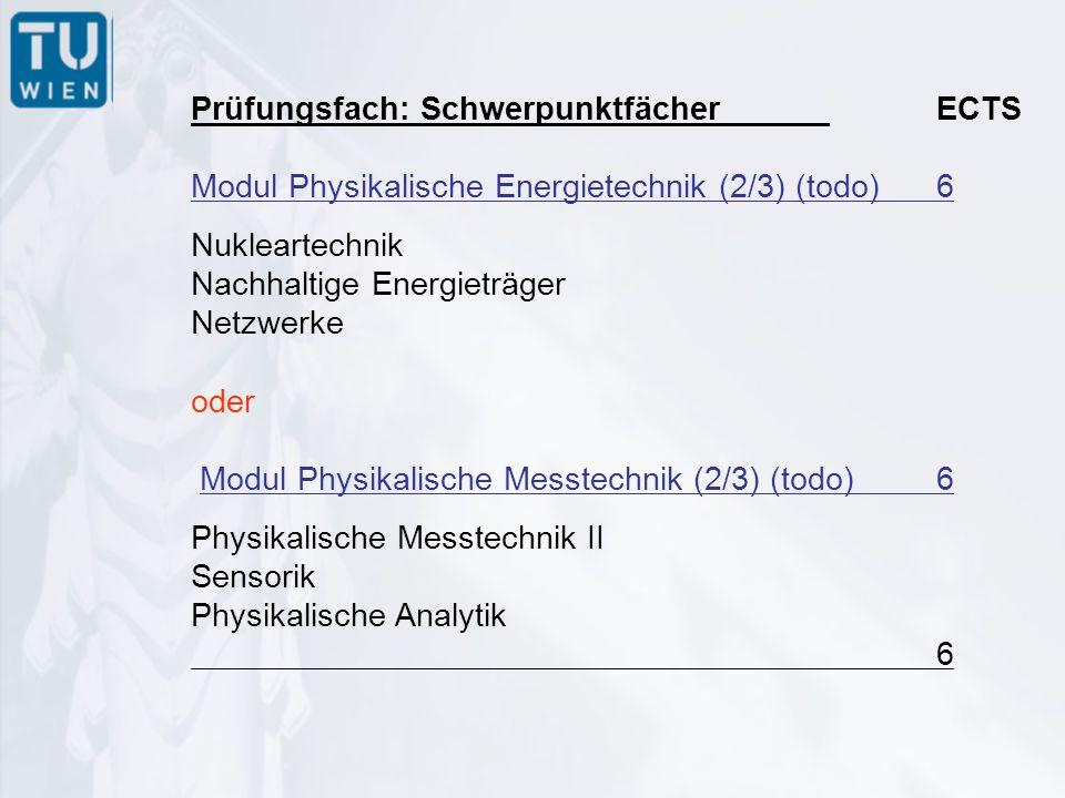Prüfungsfach: Technische Qualifikationen Modul Vertiefung I16 Speziallehrveranstaltungen im Ausmaß von mindestens 16 ECTS aus einem der gebundenen Wahlfachkataloge Physikalische Energietechnik oder Physikalische Messtechnik.