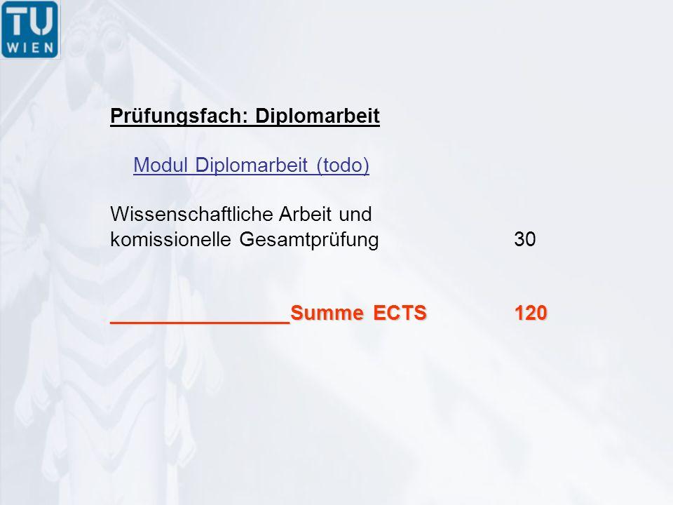 Prüfungsfach: Diplomarbeit Modul Diplomarbeit (todo) Wissenschaftliche Arbeit und komissionelle Gesamtprüfung30 ________________Summe ECTS120